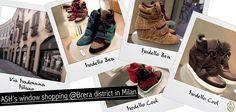 La vetrina del negozio ASH di Milano questa settimana propone le sneaker con zeppa nelle diverse varianti colore: english green, prune, rubis, cobalt, black, taupe, stone.  Vieni a scoprire tutti i modelli in via Madonnina angolo p.za del Carmine!  #ashitalia