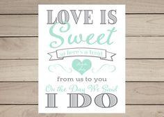 Custom Printable Love Is Sweet Sign Digital File by BlushAndBliss
