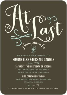 This brown, green and white invitation from Wedding Paper Divas is such a different contrast from what I would usually use for a brunch invite but it works for a fall wedding! #Atlanta Wedding Planner Andre Winfrye Events