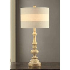 Light Coffee Finish Turned Design Table Lamp with Shade On/Off CFL Bulb Included $40.13, need new shade