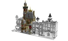 This building in renaissance style will complete easly your modular collection. Like a huge old gate to the city, it's in one hand the bell tower; in the other hand a shop for clock restauration and is own flat down the roofs. Down to the street, you have the shop by himself, with the clock-maker wife, and in front of it, the stock of clocks with a lot of models, from ancient times to modern. The staircase is just behind a public fountain. At the first floor, the mecanism, with a fonction...