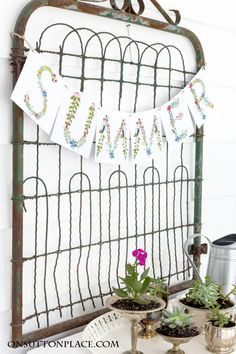 DIY Summer Porch Decor Ideas | Floral Alphabet Summer Banner plus ideas for making your outdoor spaces function like indoor rooms. Examples, tips and inspiration!