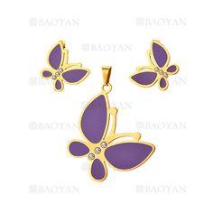 juego de colgante y aretes de mariposa con cristal de dorado en acero-SSSTG504222