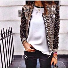 OUTFIT: | Detailed Patterned or Embroidered Cropped Jacket + White Blouse + Skinny Dark Pants or in a Color that coordinates with the Jacket.