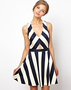 B and fit and flare ASOS Stripe Skater Dress