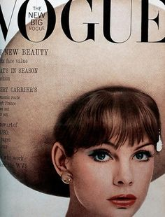 May 1963  Jean Shrimpton, who will be the most famous British model of the next decade, wears a large white hat by Christian Dior.
