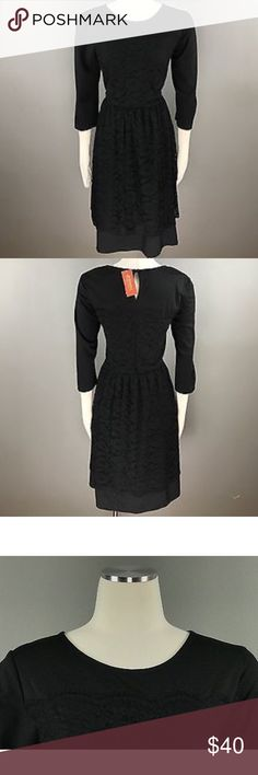 American Rag Women's Plus Black Lace Dress This is an American Rag Women's Black Lace Dress. New With Tags. Size: 1X. Color: Classic Black. MSRP $70 * Material: 60% polyester; 30% rayon; 10% spandex * Size Type: Plus * Knee-Length * 3/4 Sleeve  * Machine wash * Imported American Rag Dresses