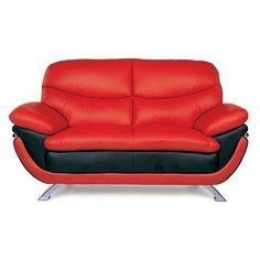 Jonus Leather Loveseat - Red/Black - JONUS R/B LOVESEAT