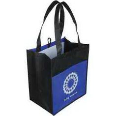 """This glossy light tote bag features OPP film laminate 100G non-woven material, an 8"""" gusset with a front pocket and an inner hanging loop. Both recyclable and reusable, this tote bag is the perfect gift for your customers who practice environmental responsibility. Use this tote as a convenient way to carry your papers, lunch or other items to and from the office! Customize with your company name and logo for increased brand exposure."""