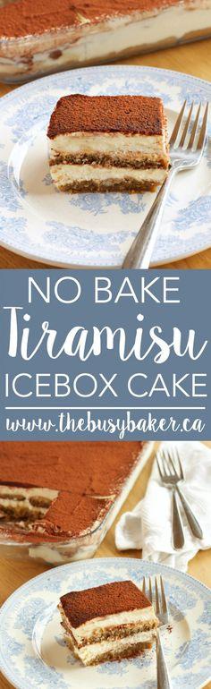 No Bake Tiramisu Icebox Cake is easy dessert that tastes amazing with nutella flavor. Dip the cookies in melted nutella with milk. Brownie Desserts, Oreo Dessert, Mini Desserts, Frozen Desserts, No Bake Desserts, Easy Desserts, Italian Desserts, Pumpkin Dessert, Pumpkin Cheesecake