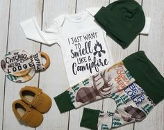 Want to Smell like Campfire Baby Boy Onesie Gift Set- Newborn Baby Boy Woodland Camping Hunting Coming Home Outfit *2 Purchasing Options* baby boy coming home outfit
