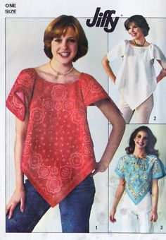 1970s Misses Jiffy Pull Over Handkerchief Top~I made a top so close to this one for Home Ec. class in 1974.