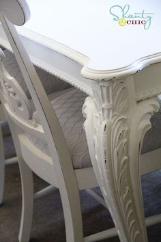 I wanted to show you guys the next step in my dining room overhaul. I spent the last few days revamping the dining room furniture. Here is how I did my table… You guys remember the Painted Dining Room Table, Dining Table Makeover, Dining Room Table Chairs, Dining Room Furniture, Shabby Chic Furniture, Dining Rooms, Kitchen Tables, Furniture Stores, Dining Set