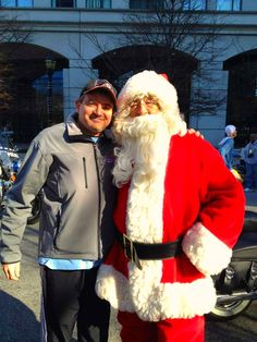 Crankin Frank with Santa Claus during the 33rd Annual PNC Bank Run/Walk for MS 5k in Wilmington, DE.