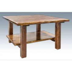 Homestead Timber-Frame Square Coffee Table with Shelf (Stained, Lacquered, or Ready To Finish) Rustic Living Room Furniture, Rustic Wood Furniture, Log Furniture, Coffee Table With Shelf, Raw Wood, High Quality Furniture, Traditional Furniture, Cocktail Tables, Homestead