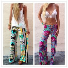 Summer Women Pants Casual High Waist Flare Print Wide Leg Long Pants Palazzo Trousers LIMITED QUANTITY HURRY 3 DAYS LEFT 15% OFF