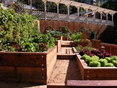 Raised beds can vary in size and shape, depending on what they contain, and can become a design element themselves - by Avant Garden via Houzz