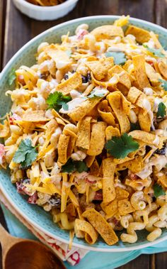 BBQ Ranch Pasta Salad with chicken and crunchy corn chips. - would make with homemade BBQ ranch instead.