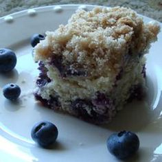 Blueberry Buckle Recipe - Allrecipes.com  This one always gets tons of compliments and is really easy to make.