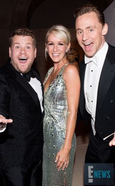 James Corden, his wife, and Tom Hiddleston at the Met Gala 5/2/16.