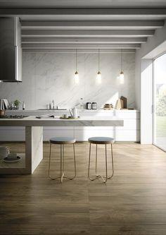 How To Incorporate Contemporary Style Kitchen Designs In Your Home Küchen Design, House Design, Wood Effect Porcelain Tiles, Porcelain Ceramic, Contemporary Kitchen Design, Design Kitchen, Kitchen Ideas, Kitchen Modern, Scandinavian Kitchen