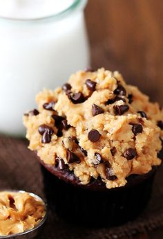Chocolate Cupcakes With Peanut Butter Cookie Dough Frosting