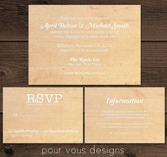 Rustic Wedding Invitation Set with RSVP  by PourVousDesigns, $22.00