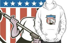 Pressure Washer Water Blaster USA Flag Cartoon by patrimonio