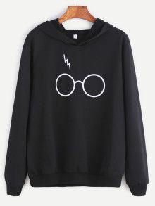 Kapuzensweatshirt mit Brillen Druck -schwarz