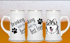 Drinking with my Best Friend - Husky Beer Stein     ***** Have a cold one in this 22oz ceramic stein with gold trim. Dishwasher safe.      We are currently only shipping within the United States.All of our items are custom, and most are even handmadePlease allow 2-3 weeks for your order to be made and delivered.     | Shop this product here: http://spreesy.com/calikays/1174 | Shop all of our products at http://spreesy.com/calikays    | Pinterest selling powered by Spreesy.com