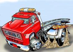 Cartoon Car Drawing, Car Drawings, Cartoon Art, Big Rig Trucks, Tow Truck, Old Trucks, Chevy Trucks, Animated Cartoons, Cool Cartoons