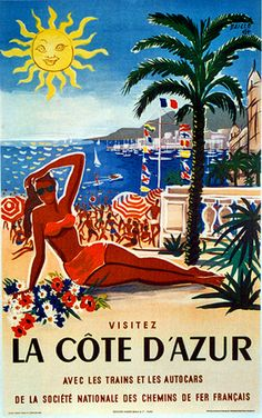 Vintage travel poster #french #riviera #travel