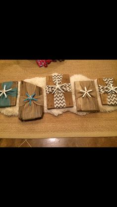 Starfish burlap crosses on reclaimed heart pine wood. Various sizes and color options.