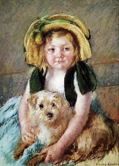 Mary Cassatt (American artist, 1844-1926) Sara with her Dog