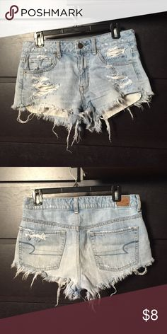 Jean shorts Light blue distressed jean shorts, mid-rise American Eagle Outfitters Shorts Jean Shorts