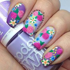 Spring is getting closer and closer. Say hello to spring by rocking flowers on your nails! Spring is the most interesting season of the year, so it's time to decorate our nails with bright colors and flower patterns. This spring, we will show you 50 Nail Art Designs, Purple Nail Designs, Nail Designs Spring, Floral Designs, Nails Design, Floral Patterns, Design Design, Design Ideas, House Design