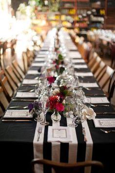 Décoration de table de mariage en noir et blanc #MURANOloves