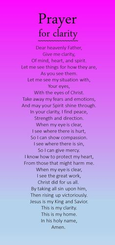 Prayer for Clarity. Amen... God got this. Thank you God. Mildred Williams