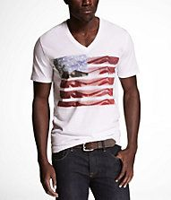 GRAPHIC TEE - STARS AND STRIPED LEGS from Express