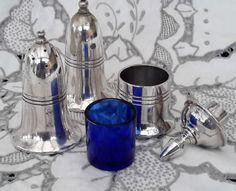 Sheffield  Silver plated Cruet, Salt Pepper and Mustard, with blue inner and lid. Sheffield A1 EPNS by NanaBarbarastreasure on Etsy