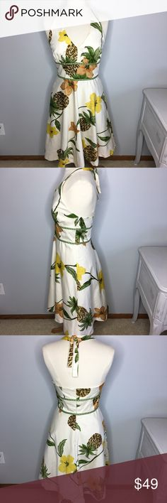 """Donna Ricco NY Pineapple Halter Dress - Size 6 So perfect for a wedding this summer or other fun event! This Donna Ricco New York Halter Pineapple Halter Dress will turn heads. Size 6. Fabulous browns, greens and yellows on an ivory base. Halter style with tie in back. Zip back. Fully lined with a small amount of crinoline at bottom edge (see last pic). In excellent condition. Smoke free home. Approximate Measurements laying flat (one side)  Bust: 16-5/8"""" Waist: 14-1/4"""" Length (waistline to…"""