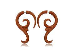 Gauge Earring Fake Gauge Spiral wooden Gauge by NELAJAPAN on Etsy