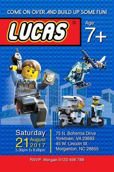 Digital Lego City invitation Lego thank you tag Lego police