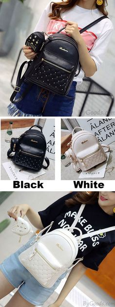 Fashion PU Girl's Black White Small Bag Snap Rivets Mesh Lingge Mini Backpack for big sale ! #backpack #fashion #Bag #college #student #lingge
