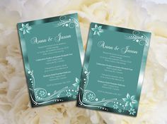 Wedding Invitation Microsoft Word Template   Green Turquoise Enchanted  Garden For Weddings And Events