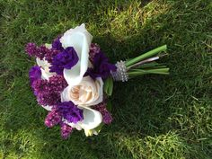 Purple and ivory bridal bouquet