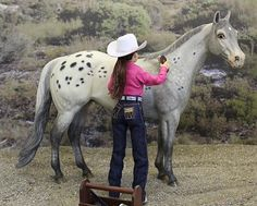Working Cowgirl model horse rider doll by Joan Yount