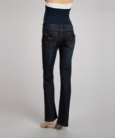 Take a look at this Dark Wash Pocket Over-Belly Maternity Jeans - Women by Bella Vida Jeans on #zulily today!
