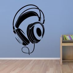 Muziek dj hoofdtelefoon muurstickers voor woonkamer home art voor decoratie pvc waterdichte sticker(China (Mainland))