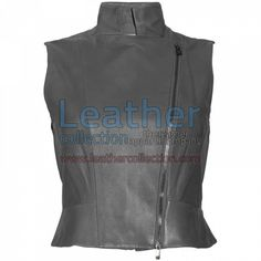 High Neck Fashion Leather Vest for $104.30 - https://www.leathercollection.com/en-we/high-neck-fashion-leather-vest.html